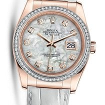 Rolex Datejust Rose Gold Mother of Pearl Diamond Dial Bezel