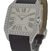 Cartier WH100651 Santos Dumont White Gold with Diamond Bezel -...