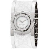 Gucci Twirl White Dial Two Tone Bangle Ladies Watch Ya112419