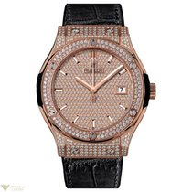 Hublot Classic Fusion Pave Dial 18K King Gold Men's Watch