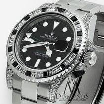 Rolex Gmt Master Ii 116710ln Black Dial & Baguette Diamod...