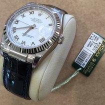 Rolex Nib 116139 36mm 18k White Gold Datejust White Dial...