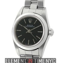 Rolex Oyster Perpetual No-Date 24mm Stainless Steel Black...