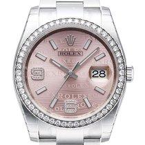 Rolex Datejust 36 Edelstahl Weißgold Diamant Lünette 116244 Pink