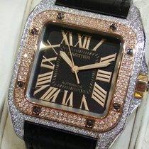 Cartier Santos 100 Medium Black Dial 2 tone 3rd party diamonds