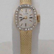 Elgin Ladies Elgin 14k Yellow Gold Diamond Mesh Textured Satin...