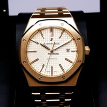 Audemars Piguet 15400OR Royal Oak 18K Pink Rose Gold White...
