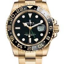 Rolex GMT Master II 18k Yellow Gold Black Index Dial 116718