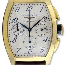 Longines Evidenza Automatic Chronograph 18k Gold Mens Strap...