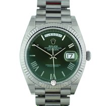 Rolex 228239 Day-Date Green Roman Dial Anniversary White Gold