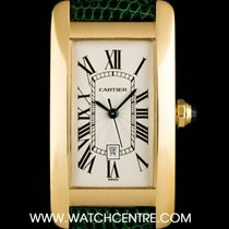 Cartier 18k Y/Gold Silver Roman Dial Tank Americaine Mid-Size...