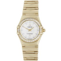 Omega 18K Yellow Gold, Mother of Pearl & Diamond Ladies...