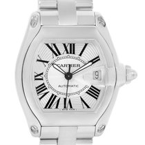 Cartier Roadster Mens Silver Dial Steel Watch W62025v3 Box Papers