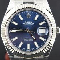 Rolex Datejust II Steel Blue Index Dial, White Gold Bezel 41mm