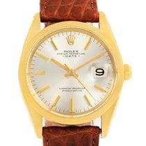 Rolex Date 14k Yellow Gold Brown Strap Vintage Mens Watch 1500