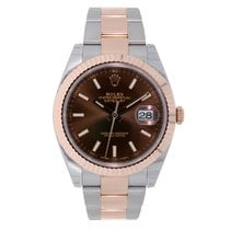 Rolex DATEJUST 41 Steel & 18K Rose Gold Watch Chocolate Dial