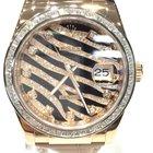 Rolex Datejust 36mm Rose Gold Leather Original Rolex Zebra Dial