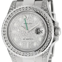 Rolex GMT-Master II Stainless Steel Diamond Bezel Pavé Dial...