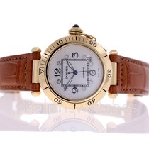 Cartier Pasha SOLID 18K Gold Automatic 1990 MOP Diamond Dial Mens