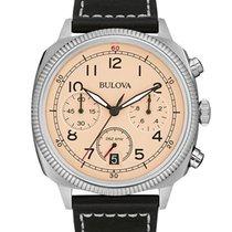 Bulova Mens UHF Military Collection Watch - Cream Dial - Black...