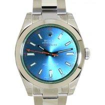 Rolex Milgauss 116400gv Vetro Verde E Quadrante Blu, 40mm