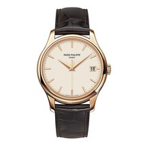 Patek Philippe Calatrava 39mm Rose Gold Watch Brown Leather Strap