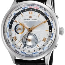 Maurice Lacroix Tradition Worldtimer GMT Steel Mens Strap...
