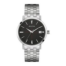 Bulova Classic Black Dial Stainless Steel Mens Watch 96B244