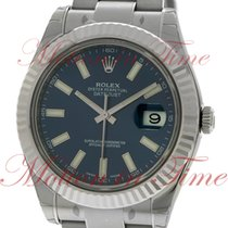 Rolex Datejust II, Blue Index Dial, White Gold Fluted Bezel -...