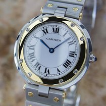 Cartier Santos 18k Gold And Stainless St 32mm Unisex Quartz...