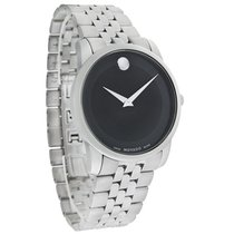 Movado Museum Mens Blk Dial Stainless Steel Swiss Quartz Watch...