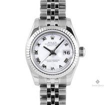 Rolex Datejust Stainless Steel White Roman Numeral Dial Fluted...