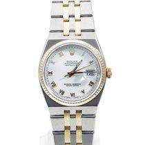 Rolex Mens 18K/SS Oyster Quartz Datejust- White Roman Dial -...