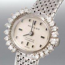 Morago Damenuhr - 585/14K Weißgold - Diamantbesatz - Handaufzu...