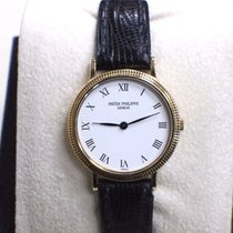 Patek Philippe 4819 Ladies Calatrava 18K Yellow Gold White...