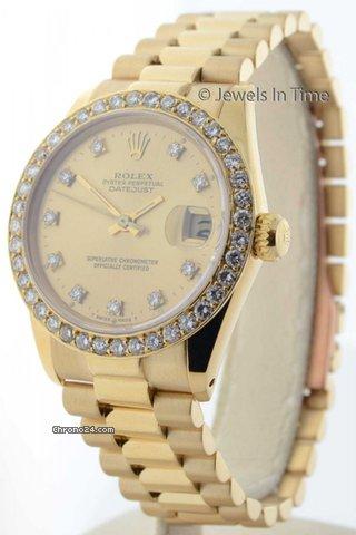 Rolex Midsize 31mm Datejust 18k Gold Diamond Bezel & Dial President 6827
