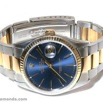 Rolex Datejust 16203 Royal Blue Stick Dial Fluted Bezel 18k...