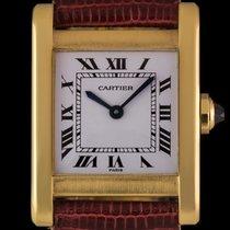 Cartier 18k Yellow Gold White Roman Dial Tank Gents Wristwatch