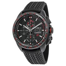 TAG Heuer Carrera Calibre 16 Black Dial Black Rubber Men's...