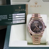 Rolex President Day Date II 218235 Bronze Wave Dial 18K Rose Gold