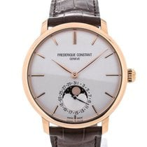 Frederique Constant Slim Line 42 Moon Phase Rose Gold Silver Dial