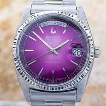 Bulova Super Seville Day Date S.steel Automatic Watch 80s Scx339