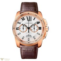 Cartier de Calibre Silver Dial 18k Rose Gold Leather Chronogra...