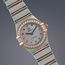 Omega Constellation stainless steel and rose gold diamond set...