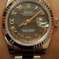 Rolex 179175F Ladies New Style Heavy 18K Rose Gold White Roman...