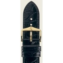 Hirsch Uhrenarmband Leder Crocograin schwarz M 12302850-1-15 15mm