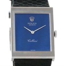 Rolex Cellini 18k White Gold Blue Mirror Dial Vintage Watch 4014