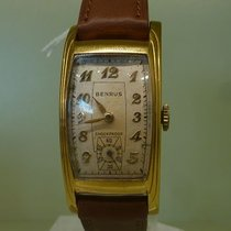 Benrus vintage art deco gold plated curvex
