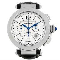 Cartier Pasha Chronograph Steel Black Strap Mens Watch W3108555