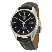 TAG Heuer Carrera Twin Time Black Dial Black Leather Men's...